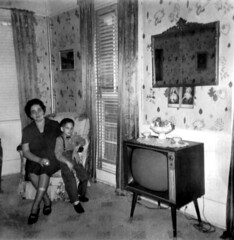 LBJ Visit Day: Mom & Anthony Parlor TV room 1966 60s * 1301 - 57st