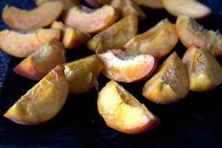 quartered and pitted peaches