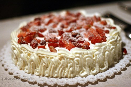 Strawberry Cake at a Wedding Dessert Buffet in Sicily, Italy