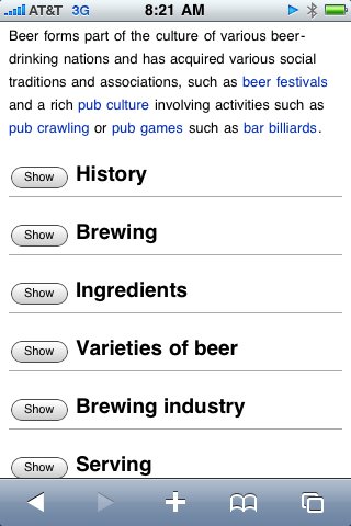 screen shot of beer article sections