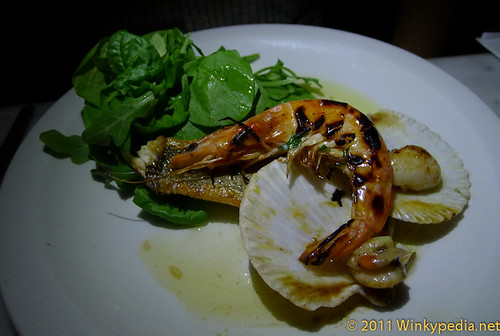 Pan fried sea bream with BBQ prawn and scallops the Bonnie & Wild