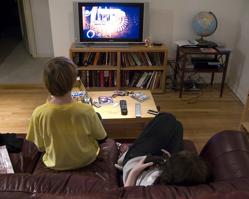 Kids playing Little Big Planet