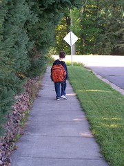Walking to the bus stop.