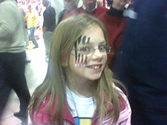 Victorias cat-claw face paint vs. Furman, 1/21/09