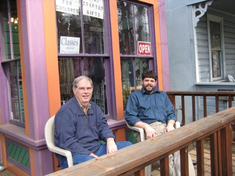 M and Bob outside Lofty Lou's