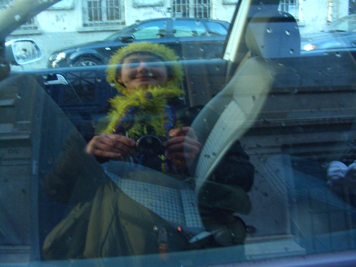 As I was alone that day, the only evidence of my cactushood is in this car window reflection portrait.