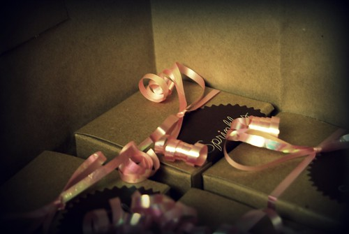 Sprinkles Cupcakes individually boxed with pink ribbons! Party favors! by you.