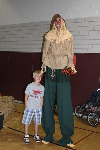 Sebastian With Super Tall Scarecrow Guy