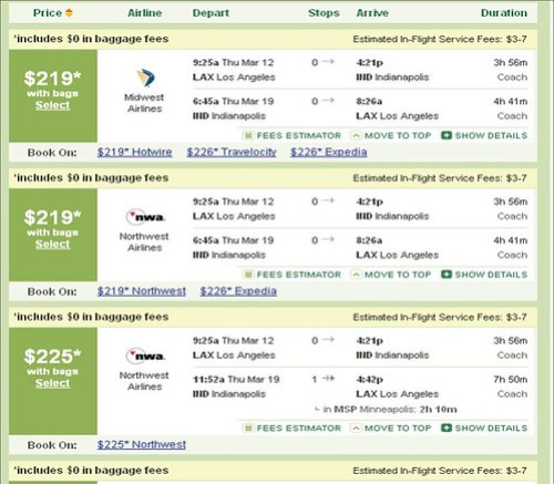 TripAdvisor Results Including Fees