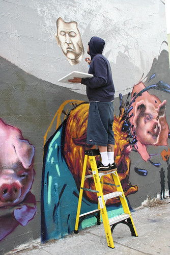 me working on the la mural