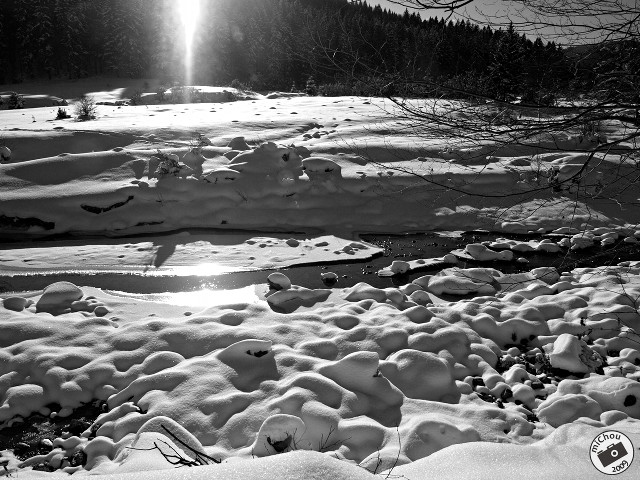 Sun over frozen waters