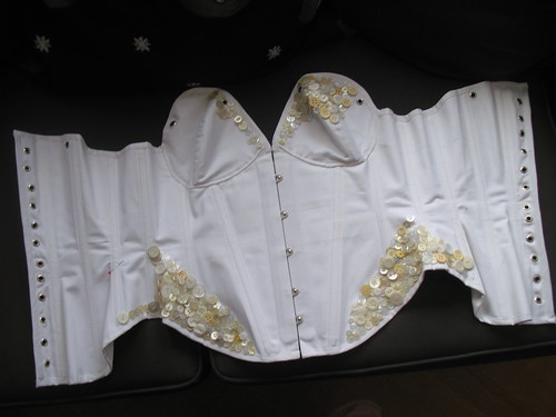 button corset under construction