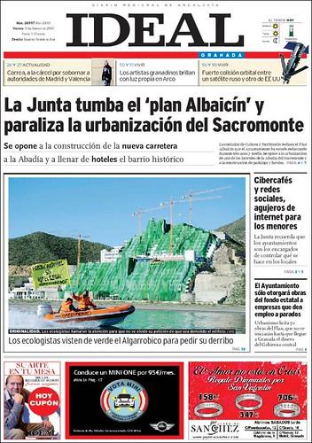 Diario Ideal Granada. Algarrobico y Greenpeace en portada.