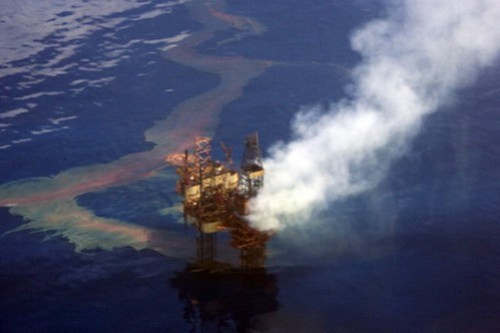Aerial photo of the Montara offshore oil platform and West Atlas mobile drilling rig. On August 21, 2009, a well on the platform blew out as a new well was being drilled, and both the rig and the platform were imediately evacuated. Oil and gas condensate are spewing uncontrolled into the Timor Sea off Western Australia, and will continue to do so for at least 7-8 weeks until a new rig can be brought into the vicinity to drill a relief well. Photo by Chris Twomey / Australian Greens.