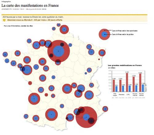 La carte des manifestations en France - Société - Le Monde.fr by you.