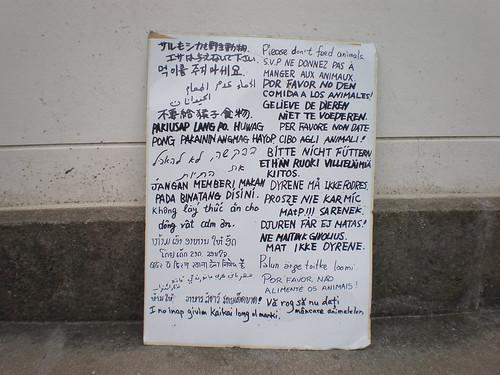 """Don't feed the monkeys"" in two dozen languages, Mt. Misen, Miyajima"
