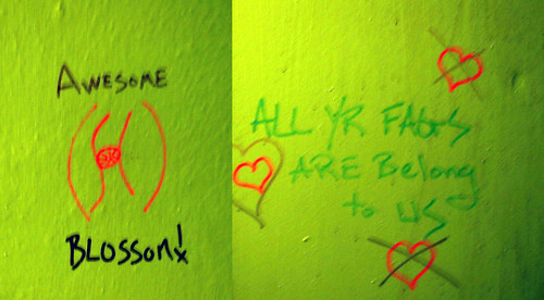 20081115 - SubGenius Devival in Baltimore - 171-7123-diptych-171-7122 - Awesome blossom, All your fags are belong to us - please click through to leave a comment on FlickR