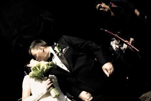 post-wedding kiss