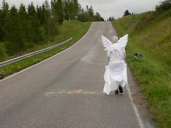 Angel walks away