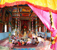 The inside of the monastery in Kompong Pluk in Siem Reap where Buddhist monks are about to enter a three month period of isolation and silence 2