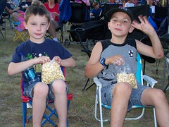 Andrew and his friend Trevor with their Kettle Corn waiting for the balloons to glow