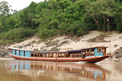 One of the slow boats on the Mekong River