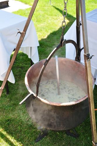Soupe de Chalet (Swiss Cottage Soup) in copper pan