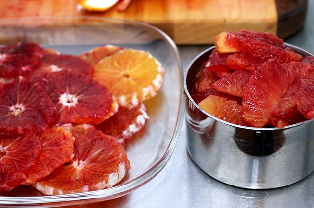 blood oranges, supremed and sliced