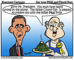 10 9 09 Bearman Cartoon Obama Nobel Peace Prize