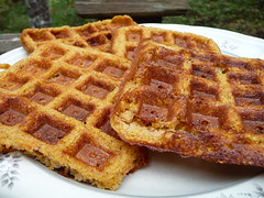 Orange Pecan Cornmeal Waffles
