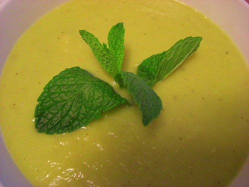 Chilled leek and avocado soup