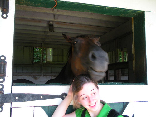 Goofing around with Jeanie, a rescued Thoroughbred.