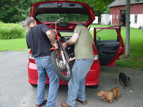 Mike and Erik putting the CT90 into the back of the Fit for the ride back to Providence from Wilbraham
