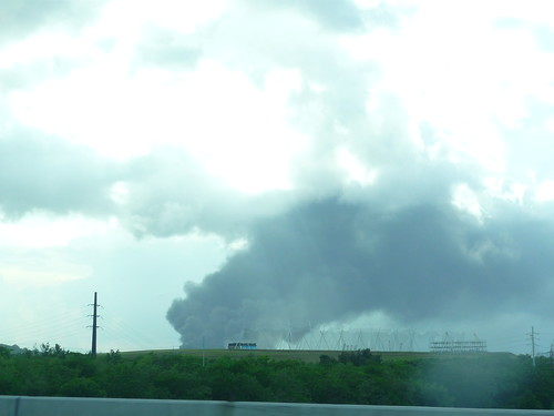 Smoke seen from the highway on Saturday