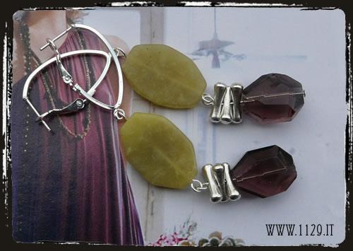 orecchini viola verdi - Green purple earrings ILVIVER