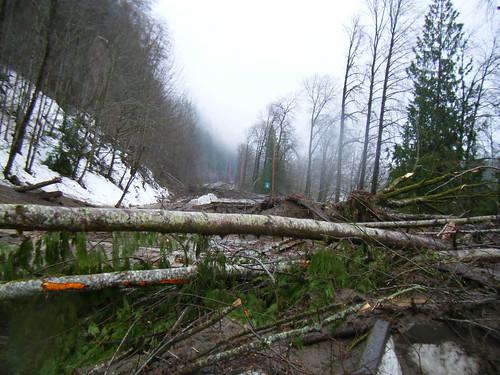 Mudslides on SR 20 by Washington State Dept of Transportation.