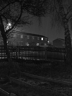 Taken around 9pm, it was snowing, lightly, and i didnt dare use the flash. Its a lovely photograph, Im well pleased with it.