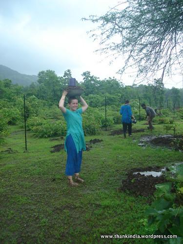 Rachel, volunteer, planting trees