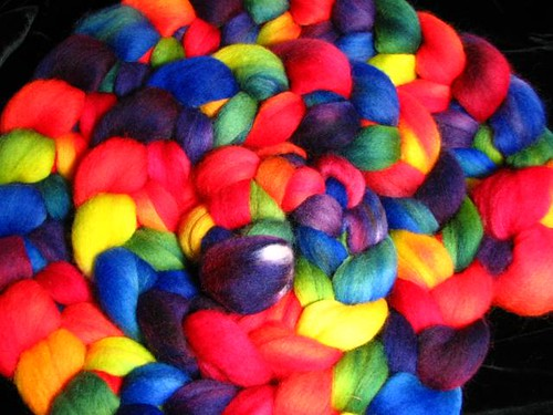 Rainbow Hand Dyed Corriedale Roving Top