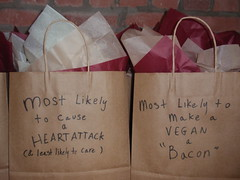 Food categories - Most likely to cause a heart attack & least likely to care;  Most likely to make a Vegan a Bacon