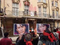 Aung San Suu Kyi Trial Daily Protest at Burma ...