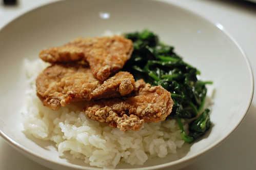 Taiwanese Fried Pork Tenderloin with Spinach and Rice 2