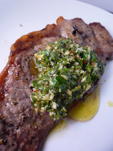 BBQ Steaks with Chimmichurri Sauce by you.