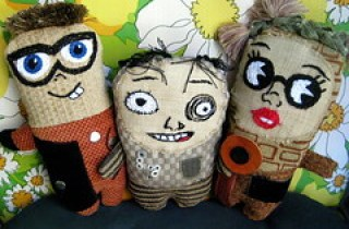 Silly Little Dolls from Recycled Upholstery Fabric