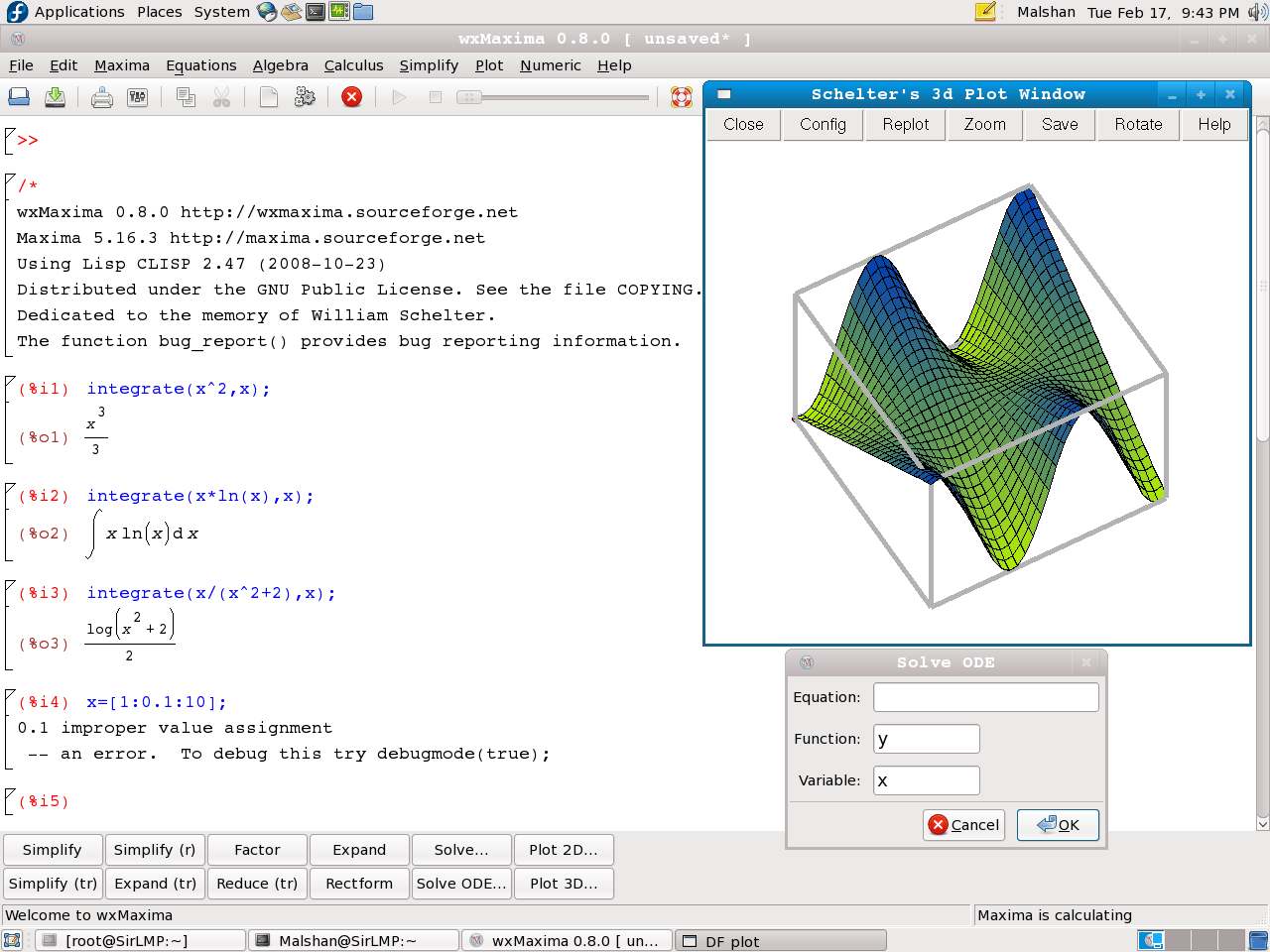 WxMaxima running on FC9, Gnome