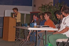 Phyliss Robinson facilitates a panel including (left to right) Tim Gunter, Marian Scott (face not shown), Ann Emmsley, Lindsay Manuel, Kainoa Horcajo and Blaze (Gene Weaver).