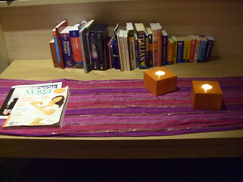 My collection of travel books and dictionaries.  Scarf from Amsterdam last year.  Candles by Ikea.