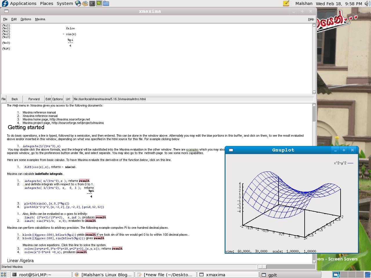 The xmaxima inbuilt GUI