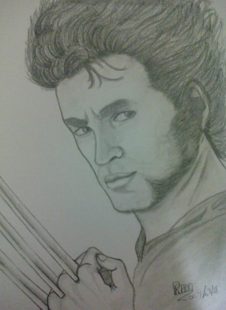 Ilustração rosto Logan ou o Wolverine dos quadrinhos de X-Men da Marvel Comic desenhado com lapiseira 0.3 grafite B e lápis 6B Faber-Castell linha profissional.