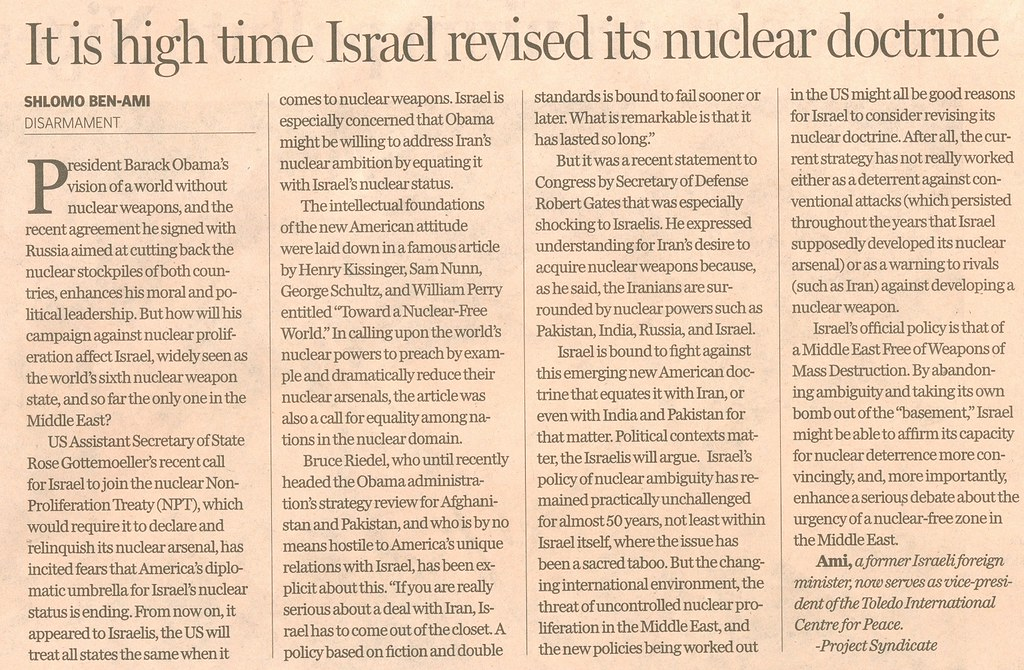 A nuke free Israel?